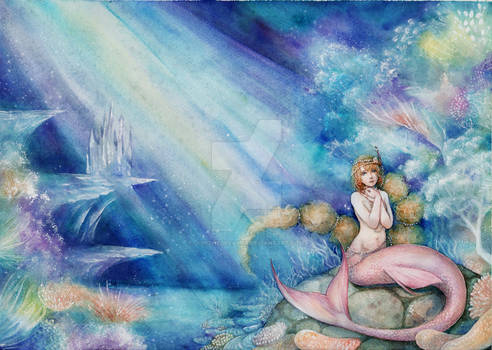 the little mermaid -watercolor