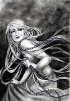 Rapunzel, running away II -bw- by jurithedreamer