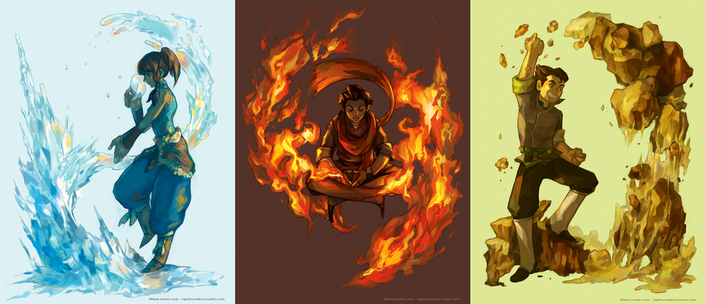 LoK- Korra, Mako, and Bolin by yujlee