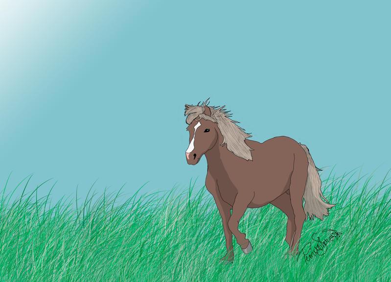Icelandic trotting through grass (digital drawing) by cutedeviantfangirl