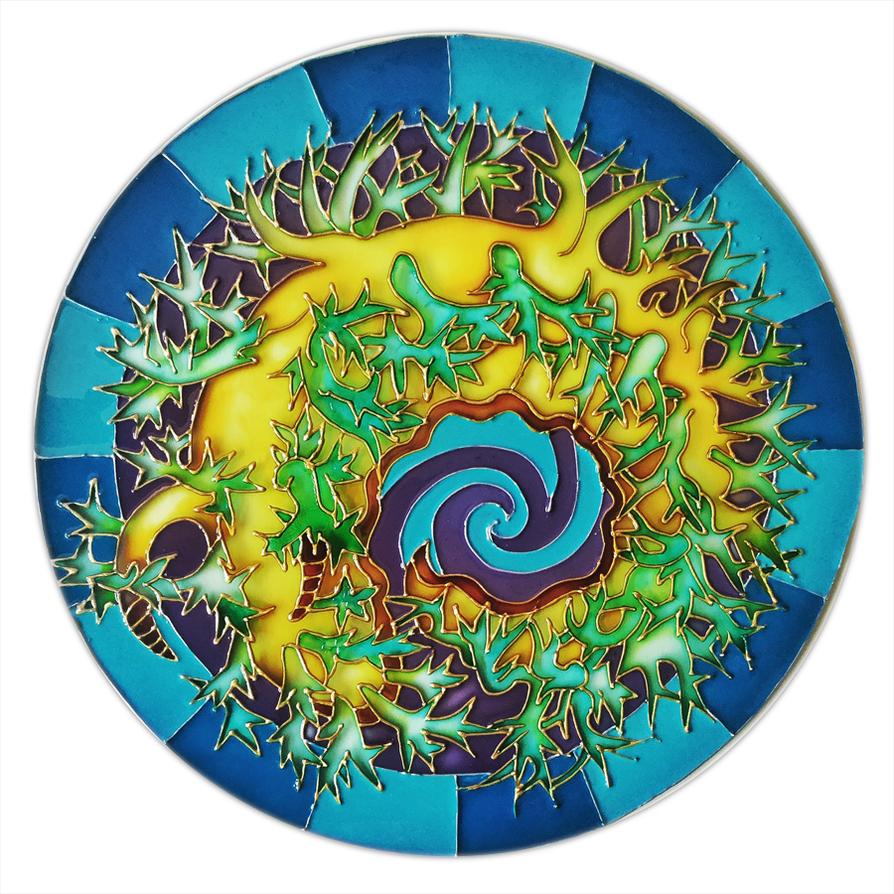 Painted glass-nudibranchia-circle by MoritoAkira