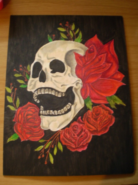 Skull and flower painting by chrissyandoreo on DeviantArt
