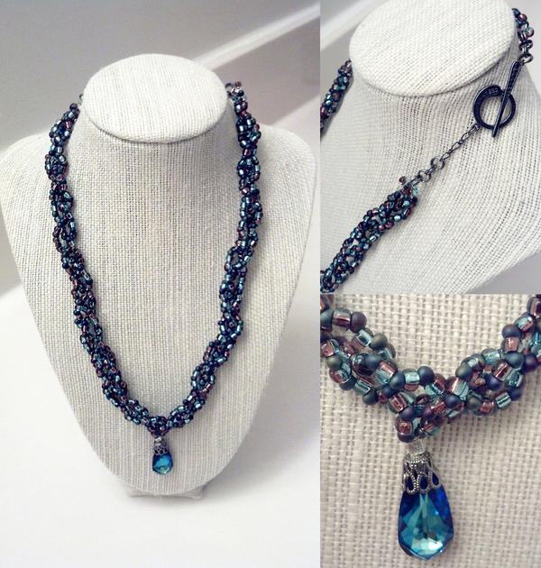 Braided Seed Bead Necklace W/ Pendant by HHarleman