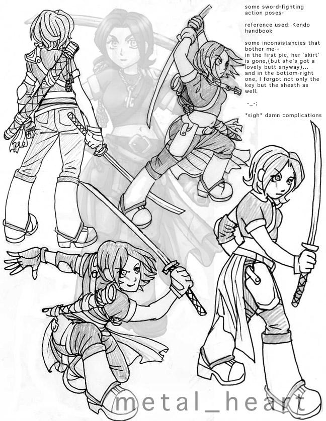 It is a picture of Delicate Sword Poses Drawing