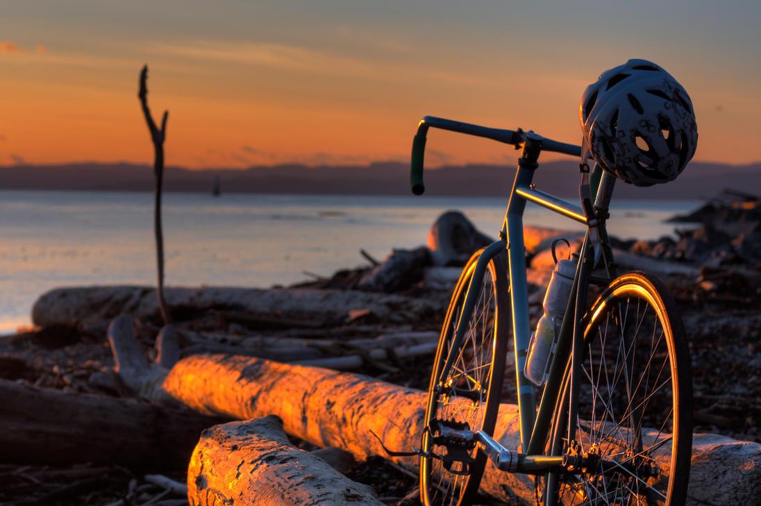 Fixie At Sunset By Nkitzke