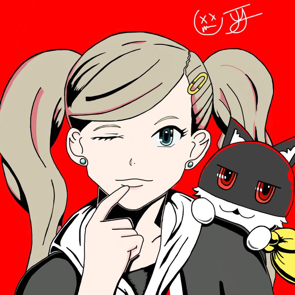 Persona 5 Anne Takamaki and Morgana by x-Beatrush-x