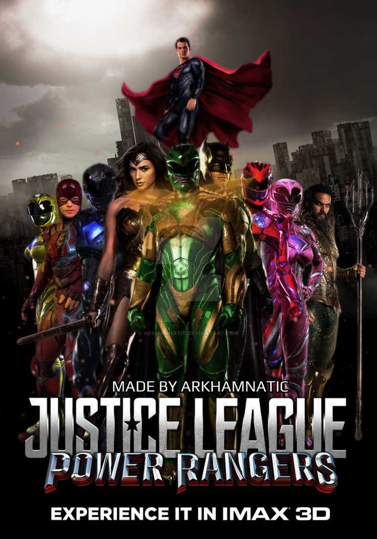 Justice League vs The Power Rangers movie poster by ArkhamNatic