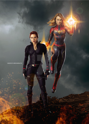 Black Widow and Captain Marvel