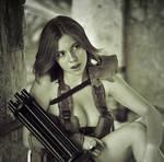 Polina with minigun #4