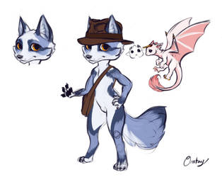 Commission: Fox and Dragon Adventuring Duo Designs