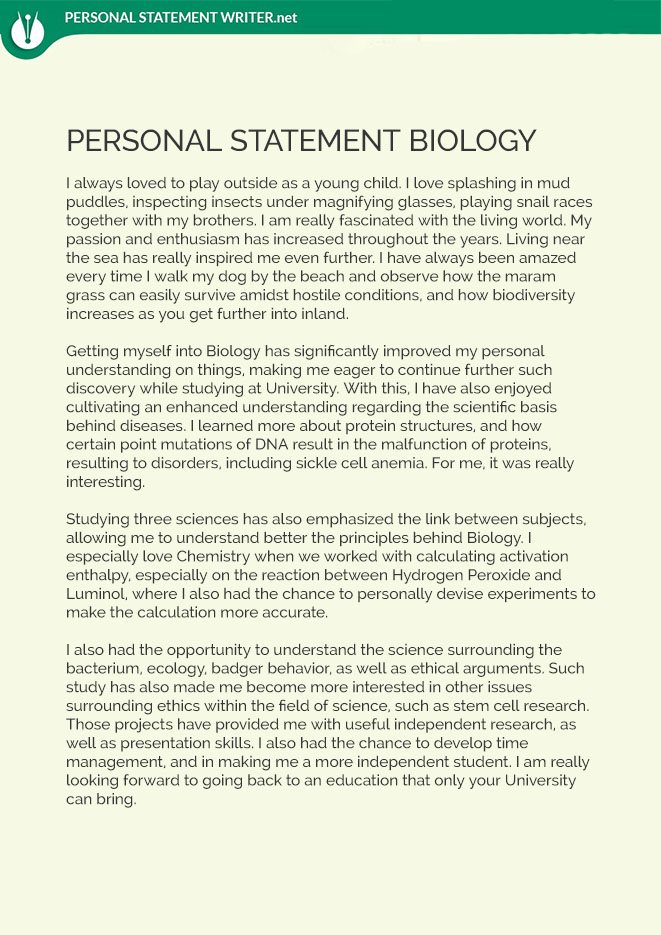 Biology Personal Statement Sample By Pssamples On Deviantart