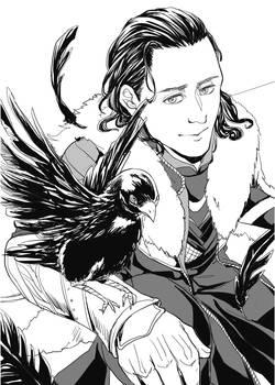 Loki with crow