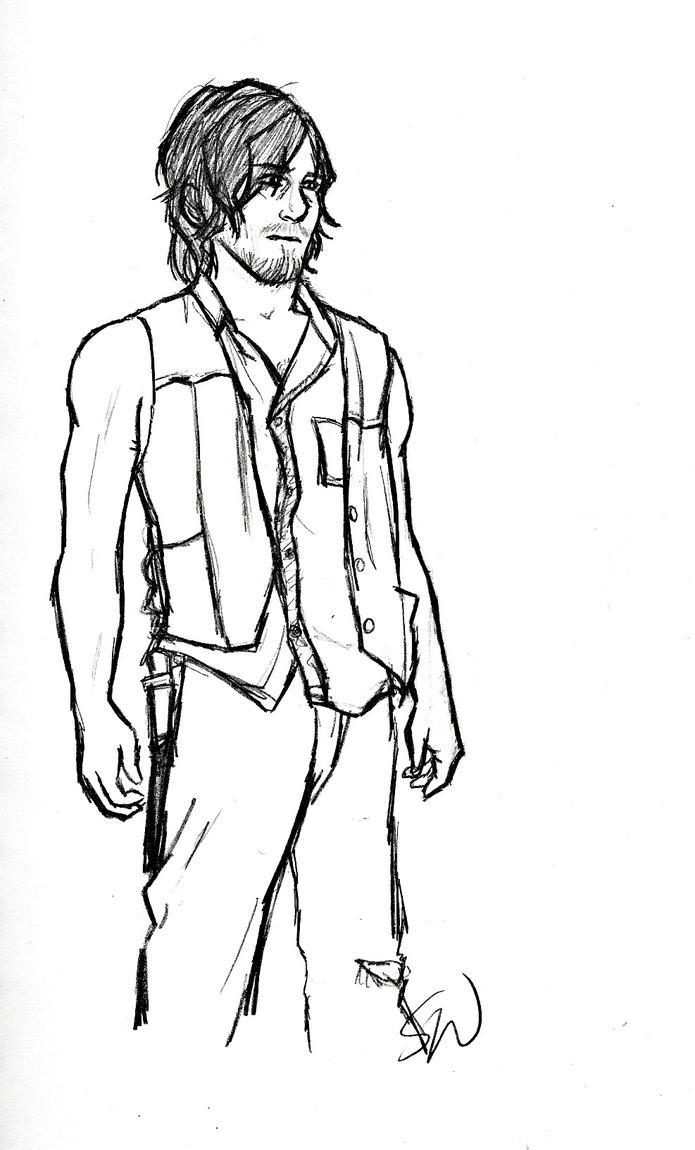 Daryl Dixon lineart by AllenLenalee