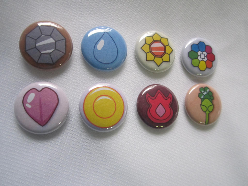 Indigo League Pokemon Gym Badge 1'' Buttons by SnowBunnyStudios