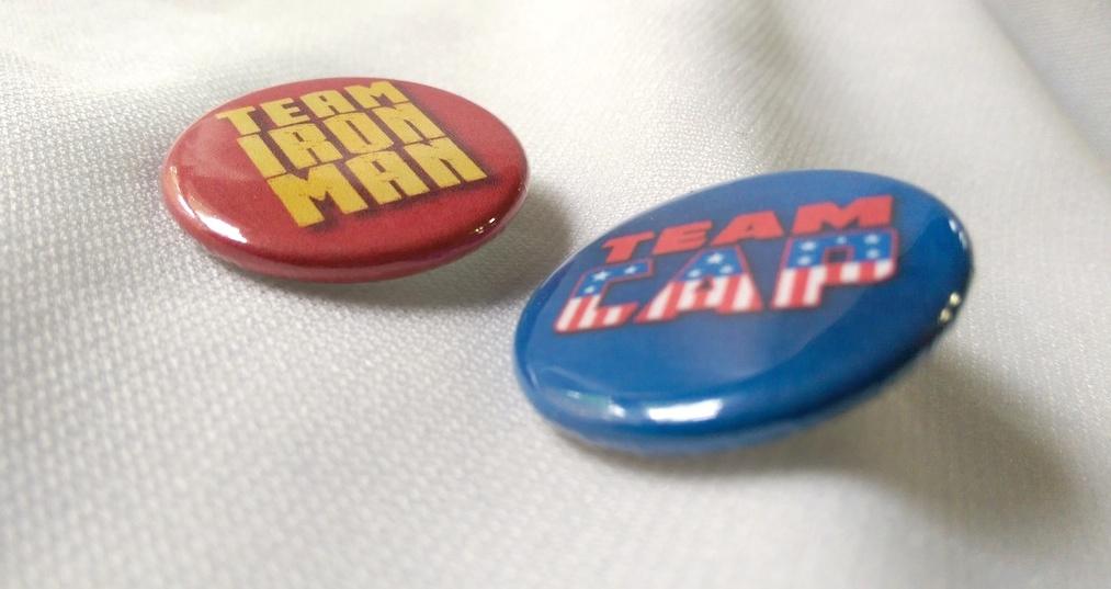 Team Cap and Team Iron Man - Civil War Buttons by SnowBunnyStudios