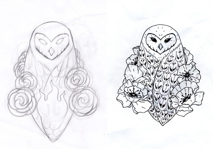 83b455a2f Owl and Poppies Tattoo Design (stolen, upgraded) by Ivoirine on ...