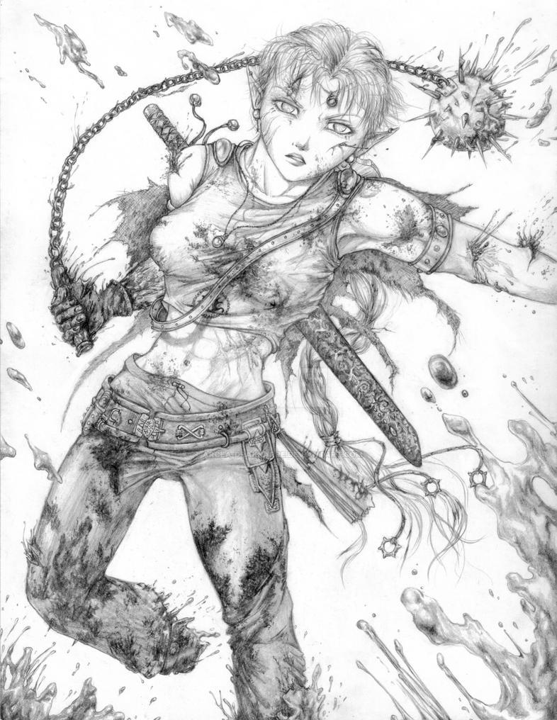 Arcea's Battle by Arcea-Drakkarre