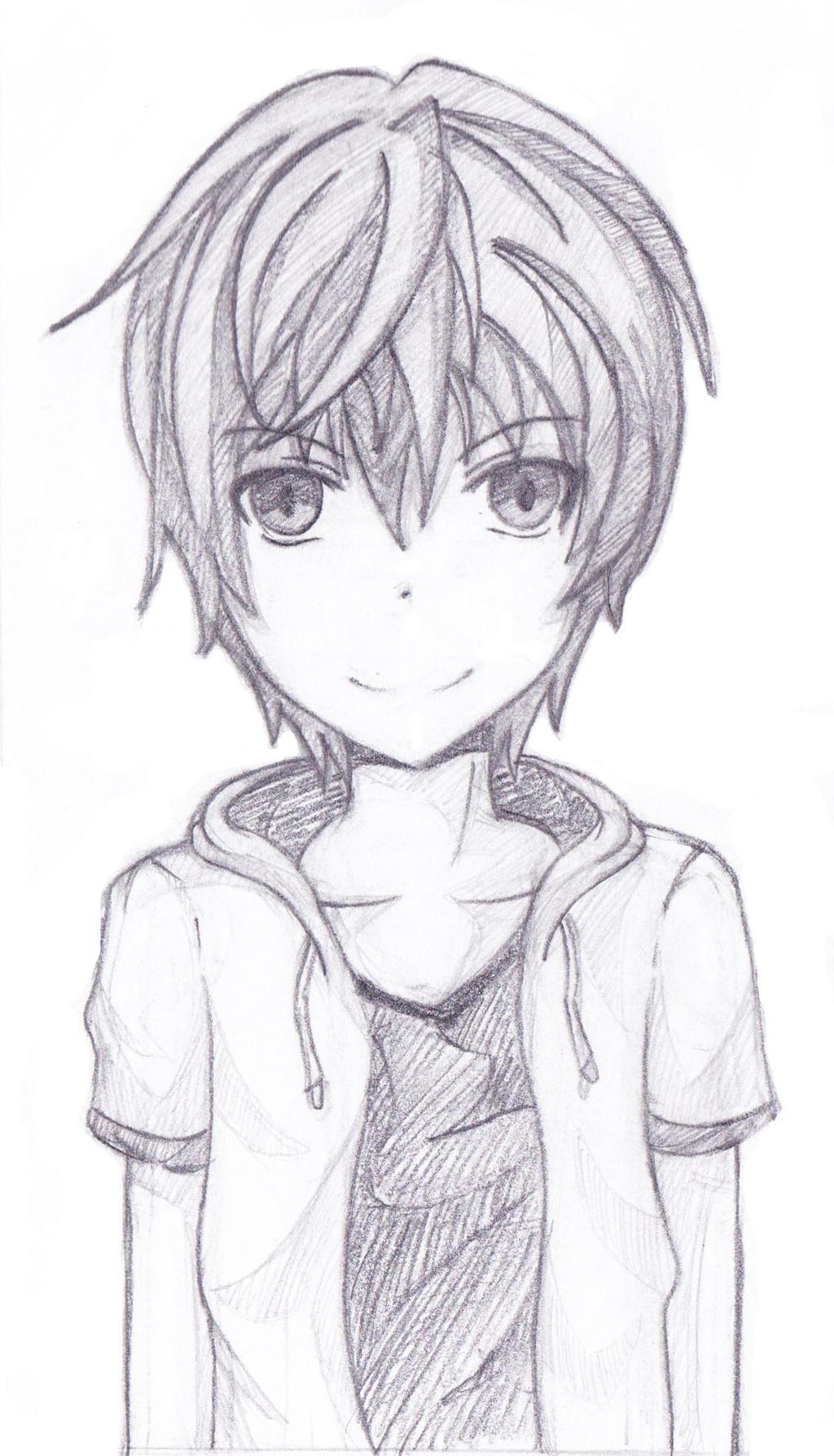 Sketch Of An Anime Boy By Blazing Skies On Deviantart