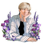 of purple flowers and hearts