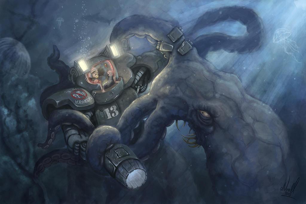 Kraken vs. mech