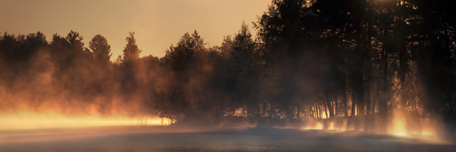 Morning Mist Panorama by MikkoLagerstedt