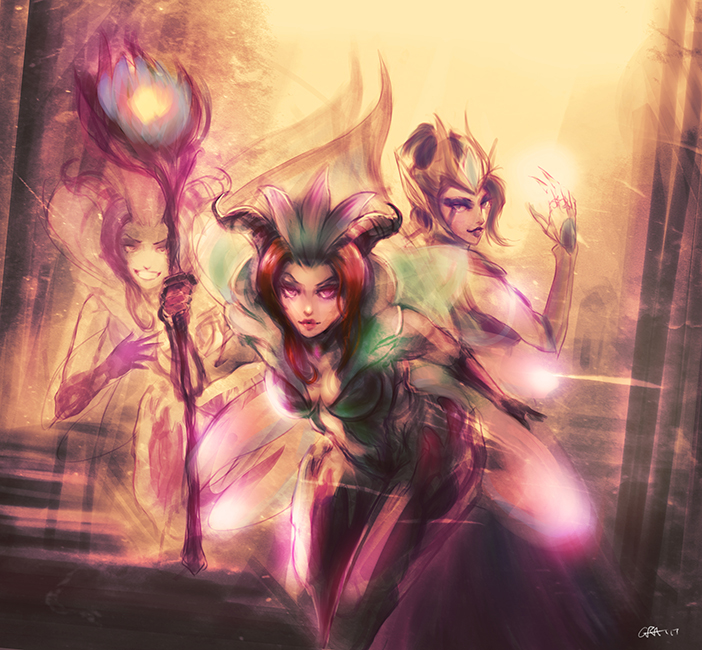 League of Legends - Morgana and LeBlanc by Professor-Irony