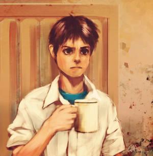 Shinji Ikari Drinking Coffee