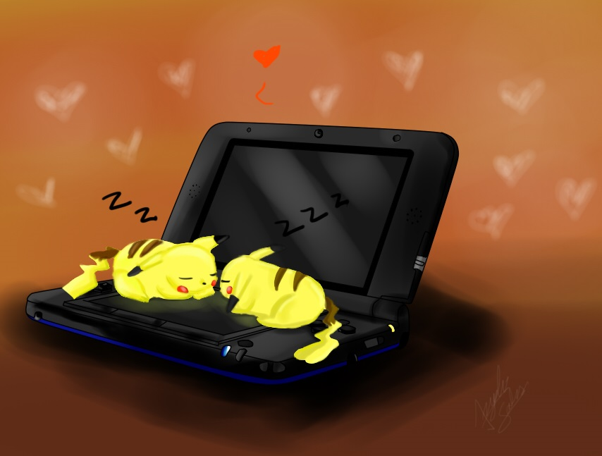 Pikachu couple sleeping on 3ds by Xalsr27X