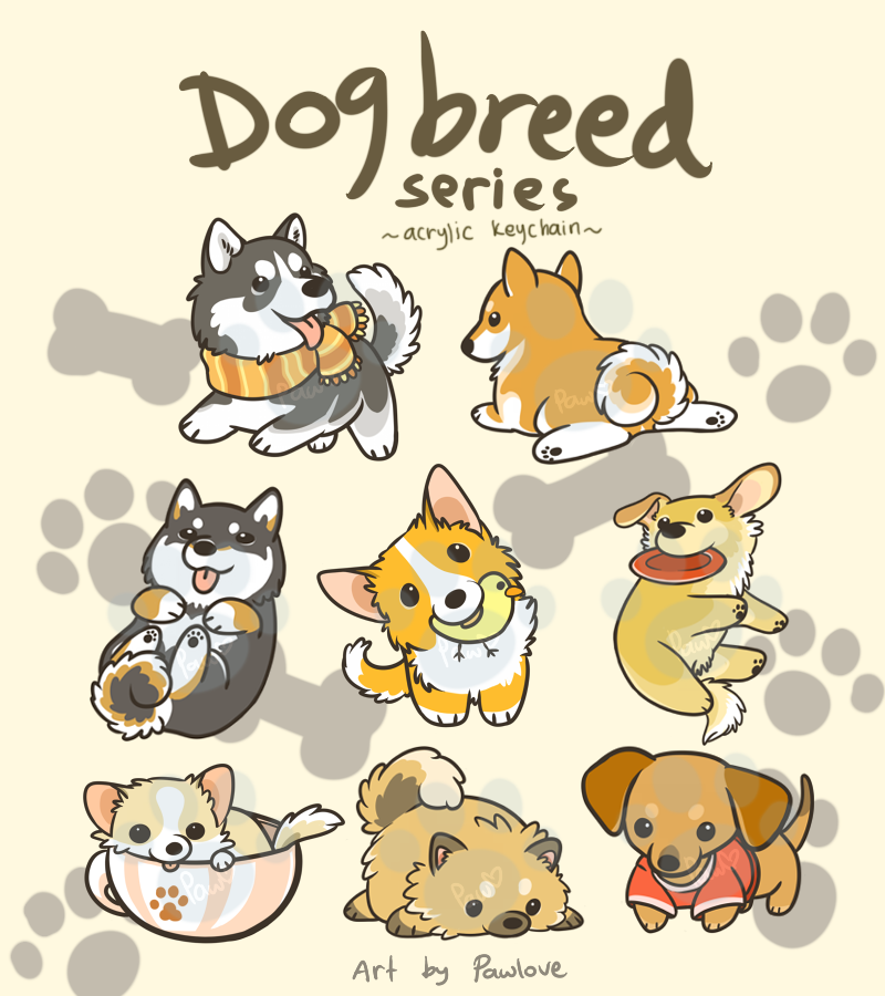 Dog Breed Series Keychains by aconite-pawlove