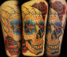 sugar skull tattoo by joshing88
