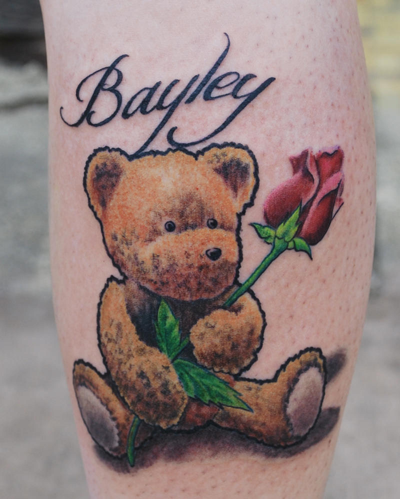 Teddy Bear Rose Tattoo by joshing88