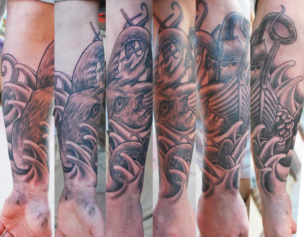 Kraken half-sleeve Tattoo by joshing88 on DeviantArt