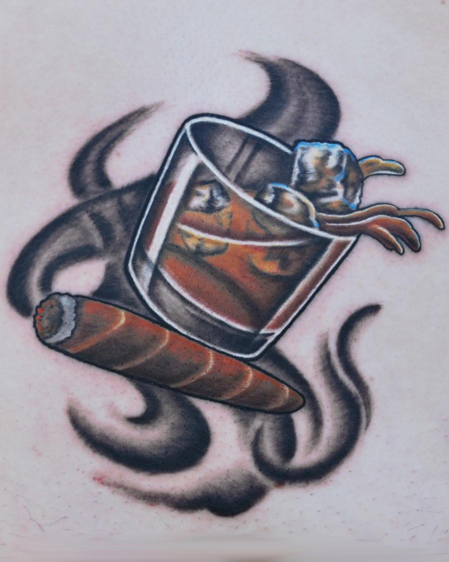 Whiskey Cigar Tattoo by joshing88
