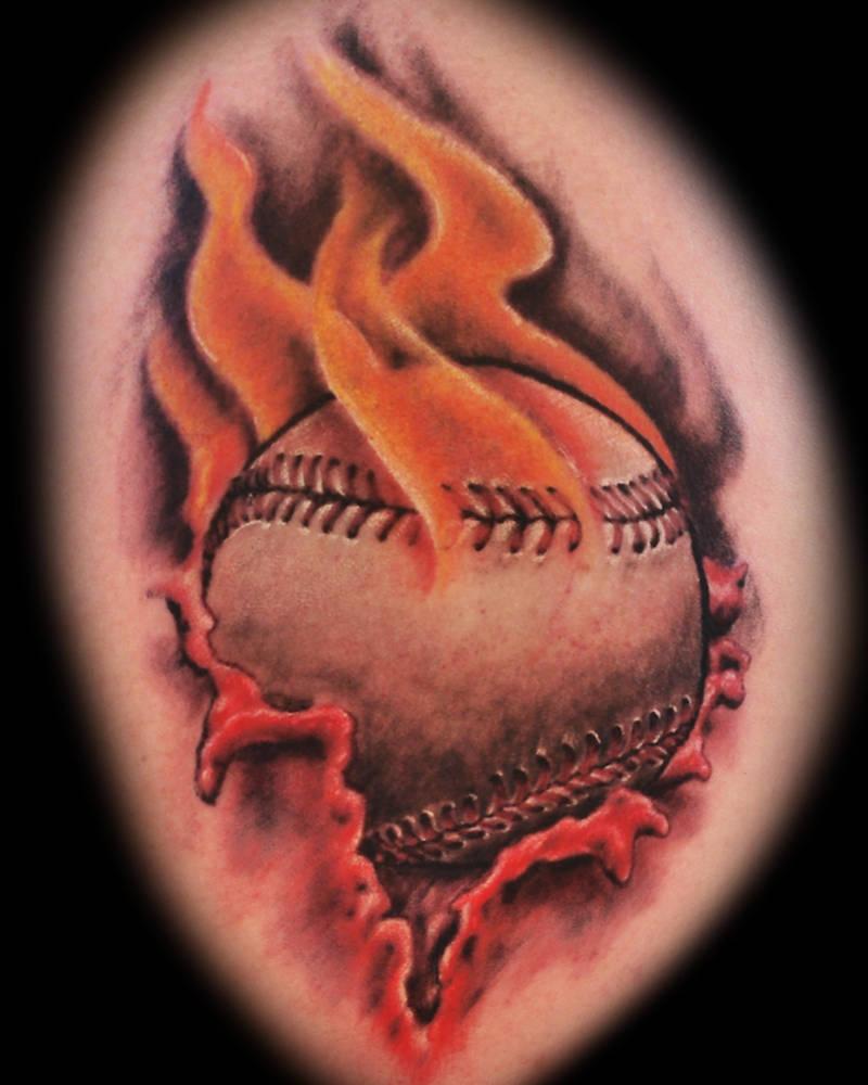 Flaming Baseball tattoo by joshing88
