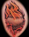 Flaming Baseball tattoo