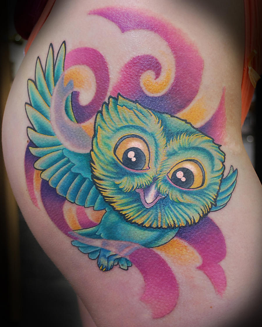 Hip owl tattoo by joshing88