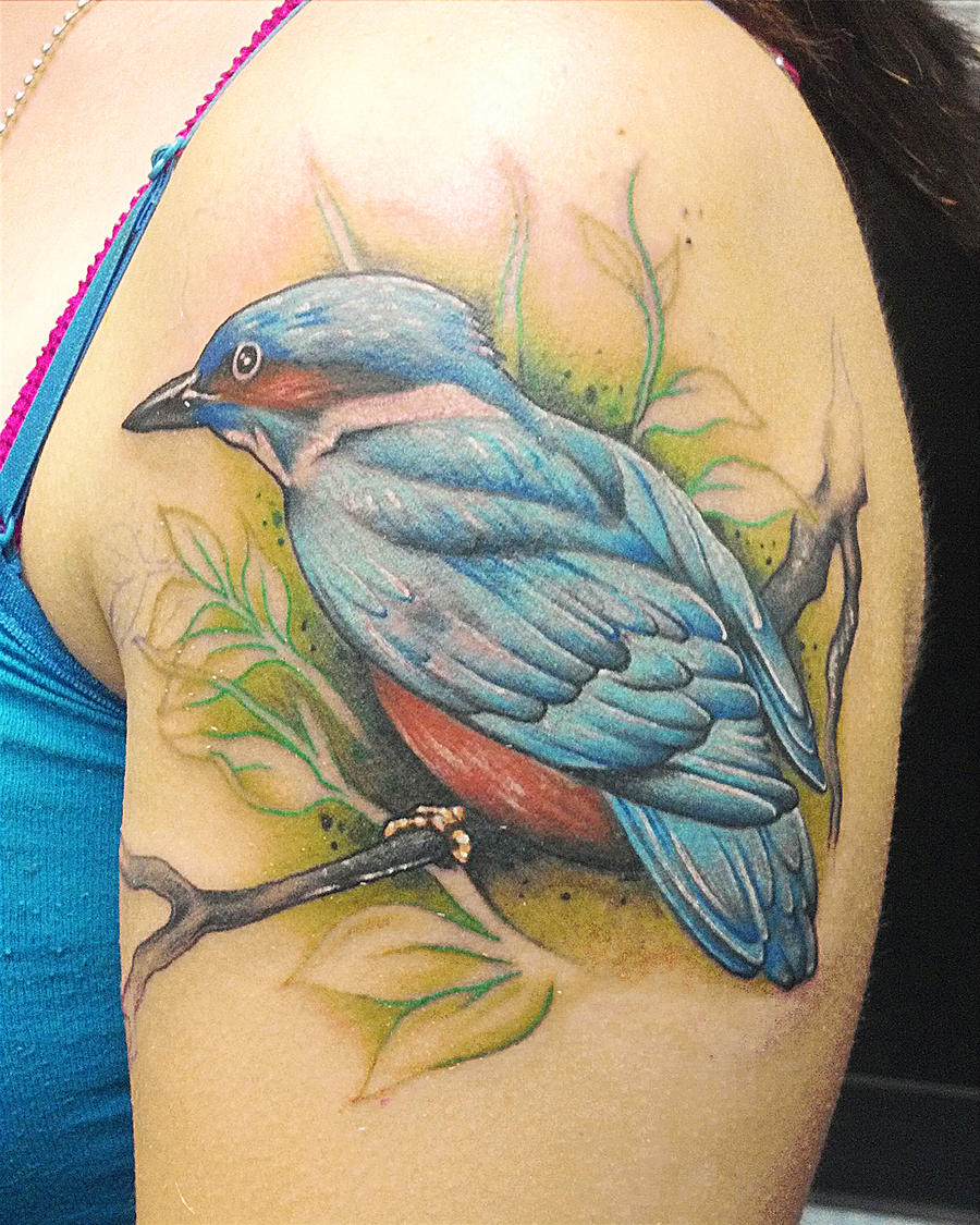 Kingfisher bird tattoo by joshing88