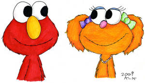 Elmo and Zoe by Madame-Kikue