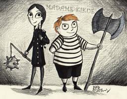 Inktober - Wednesday and Pugsley by Madame-Kikue