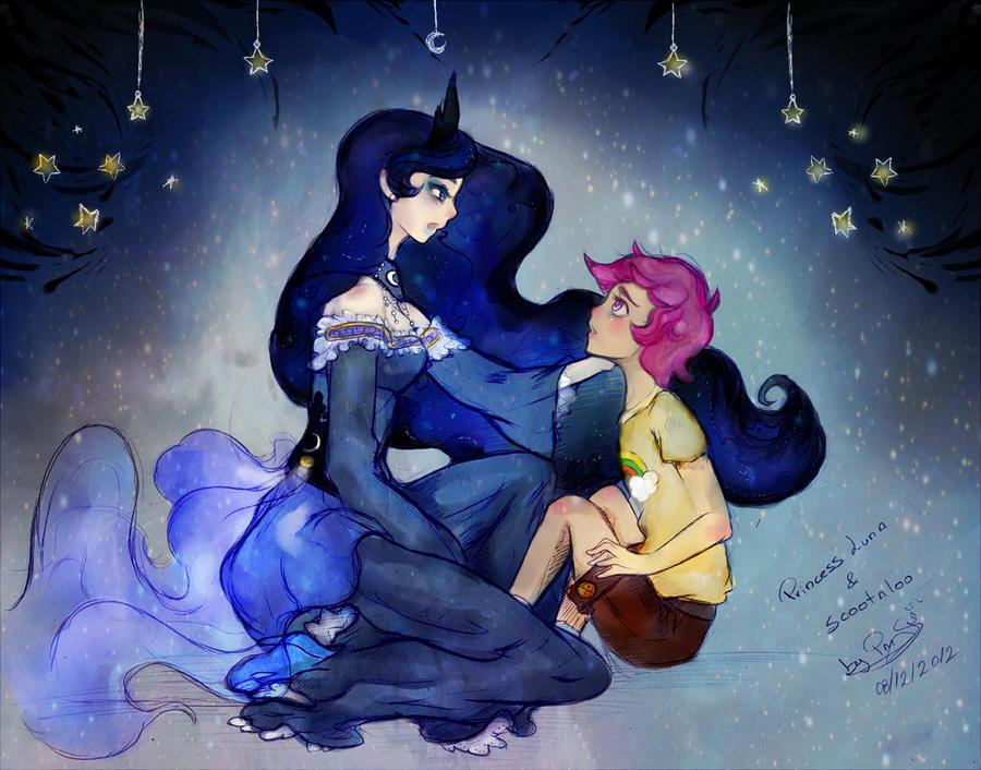Princess luna and Scootaloo by Prodigymysoul
