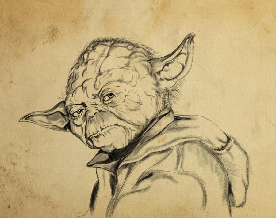 Line Drawing Yoda : Jedi master yoda by dobermannru on deviantart