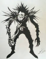 Ryuk from Death Note in Black and White by jimcrilley
