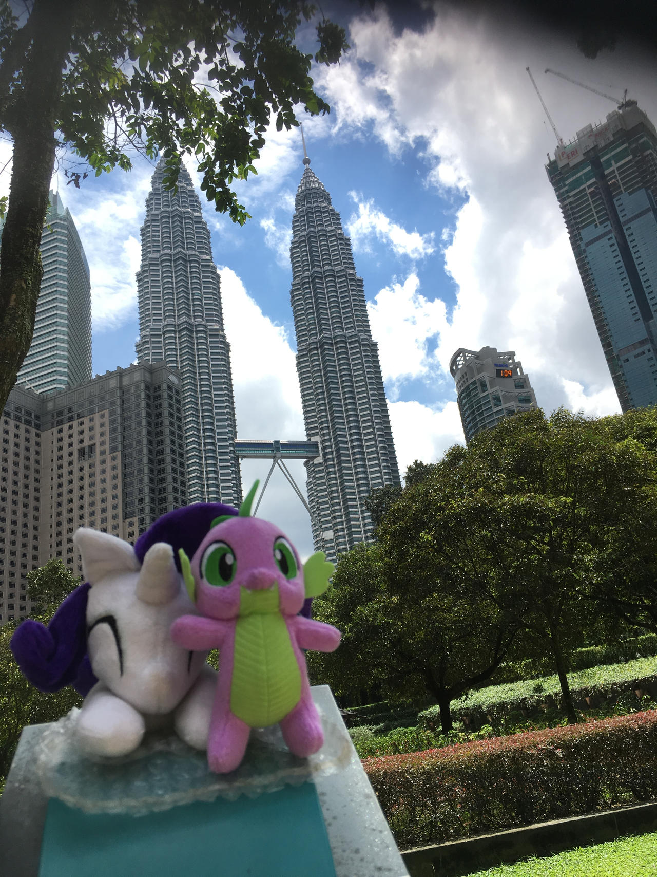 Spike and Rarity at Petronas Twin Towers