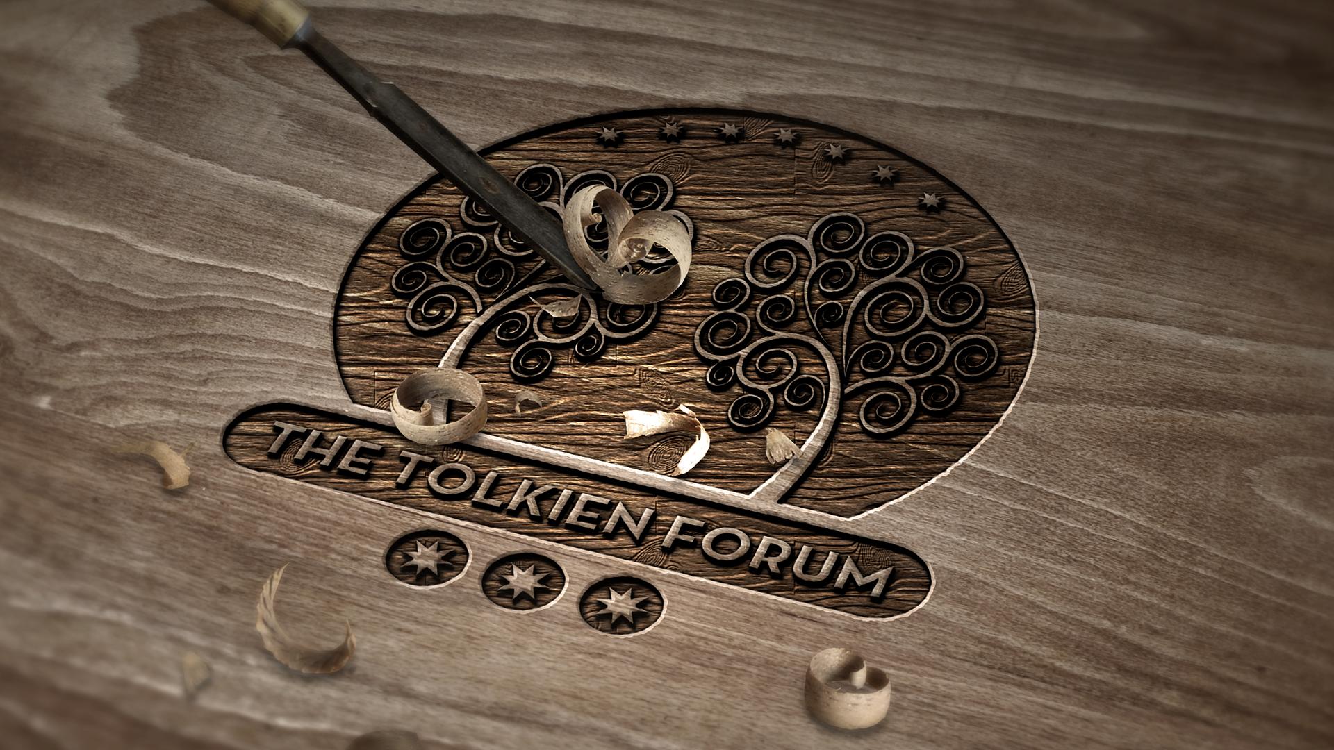 The tolkien forum logo v carved wood by dapence on