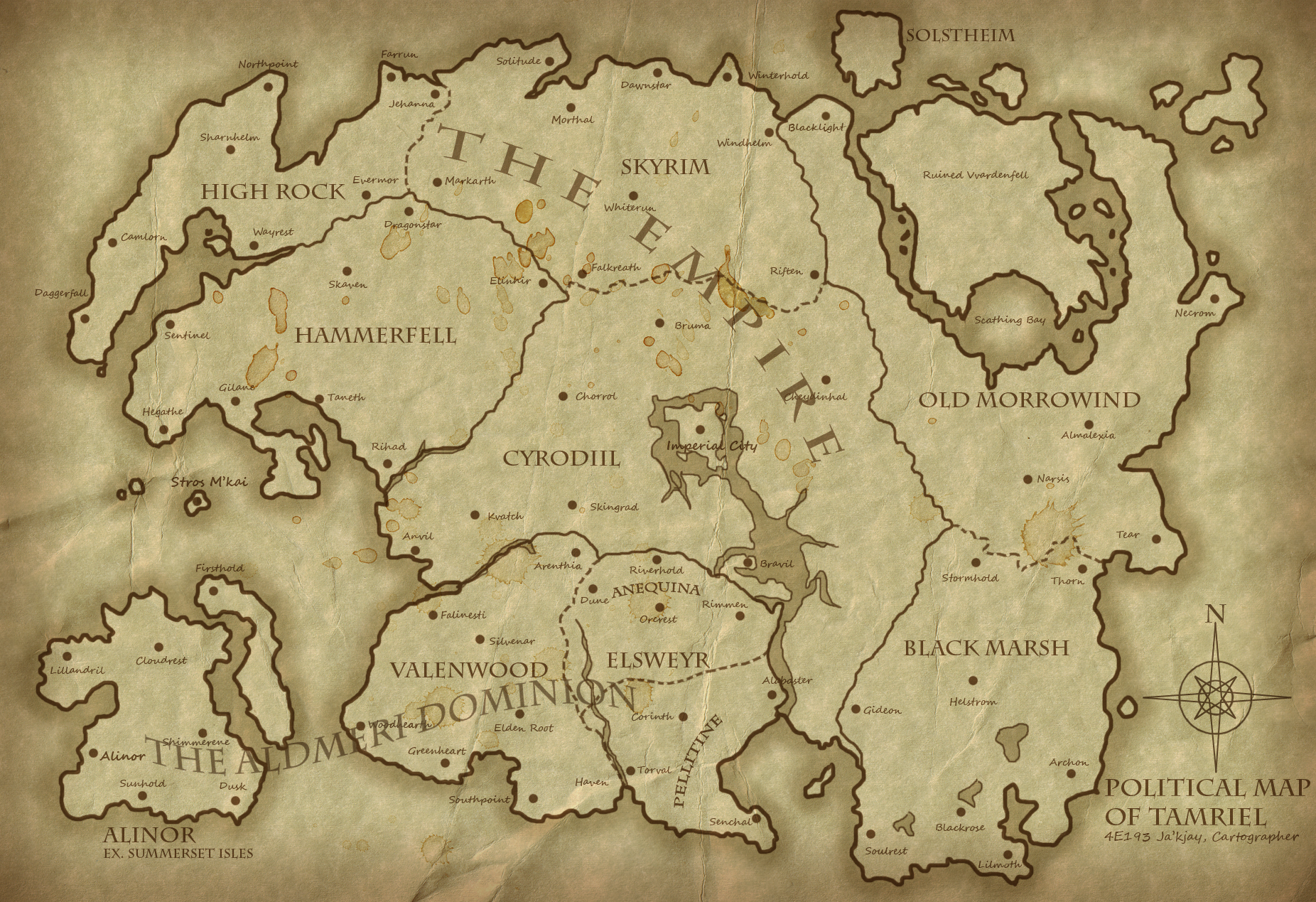 Political Map of Tamriel 4E193 - Revised