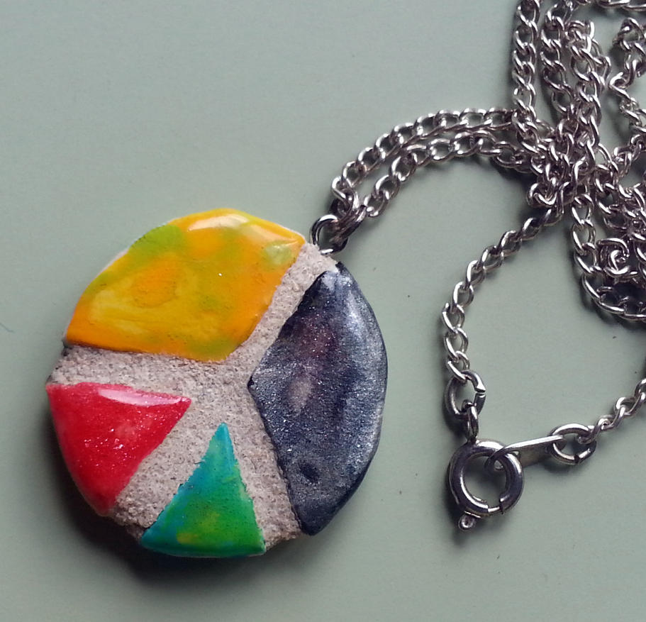 Peace Sign REVERSIBLE Mosaic Tile Pendant By Michemo On
