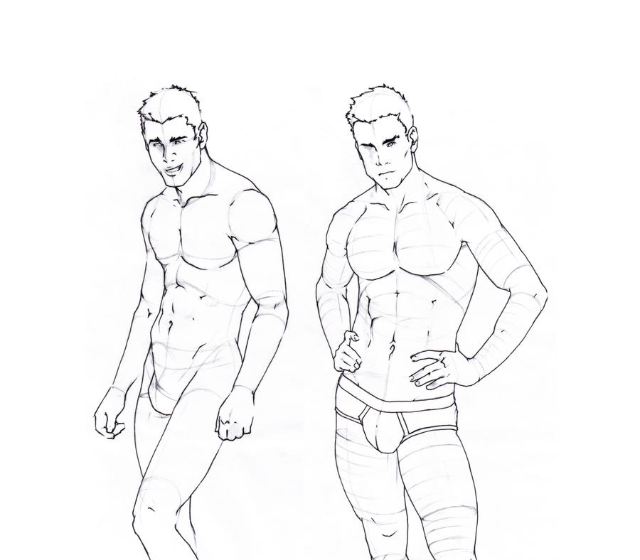 Line Drawing Body : Male body sketches by gruenedroehnung on deviantart