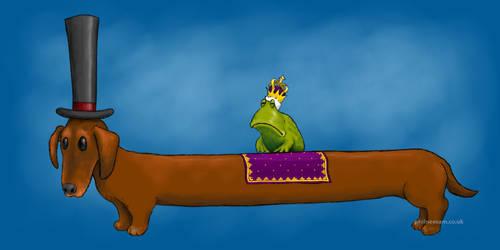 King frog on a sausage dog