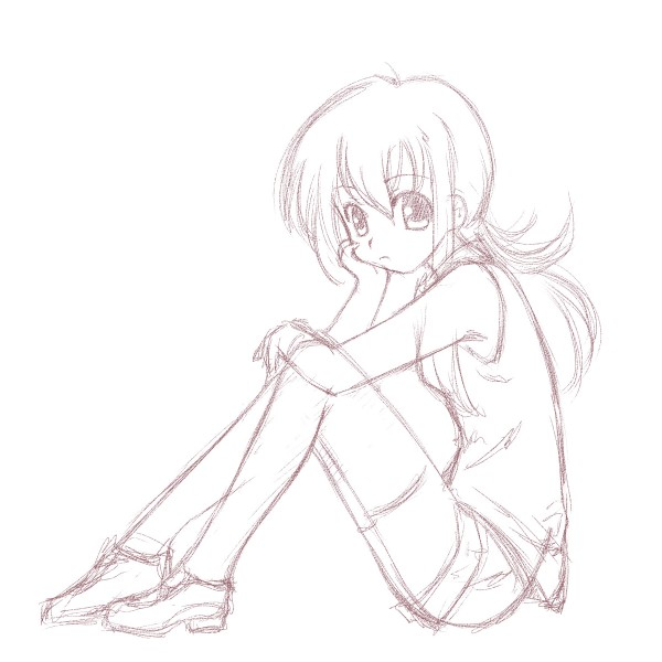 Sketch of the sitting girl by chindefu on DeviantArt