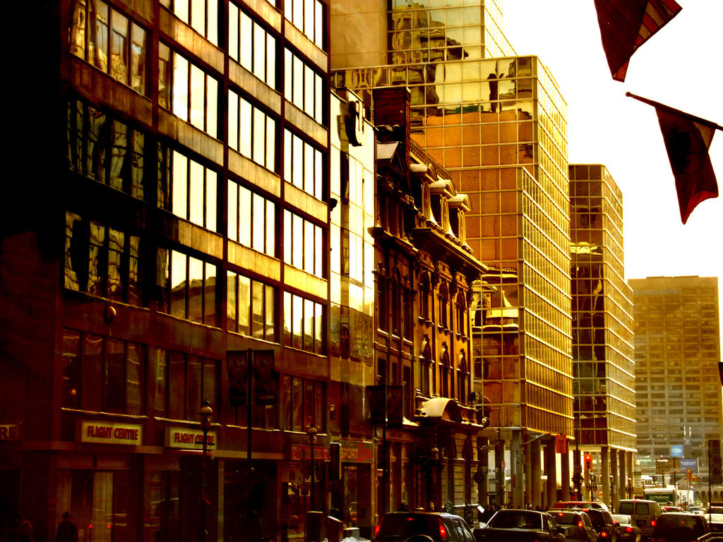 Toronto Streetscape in Gold wallpaper